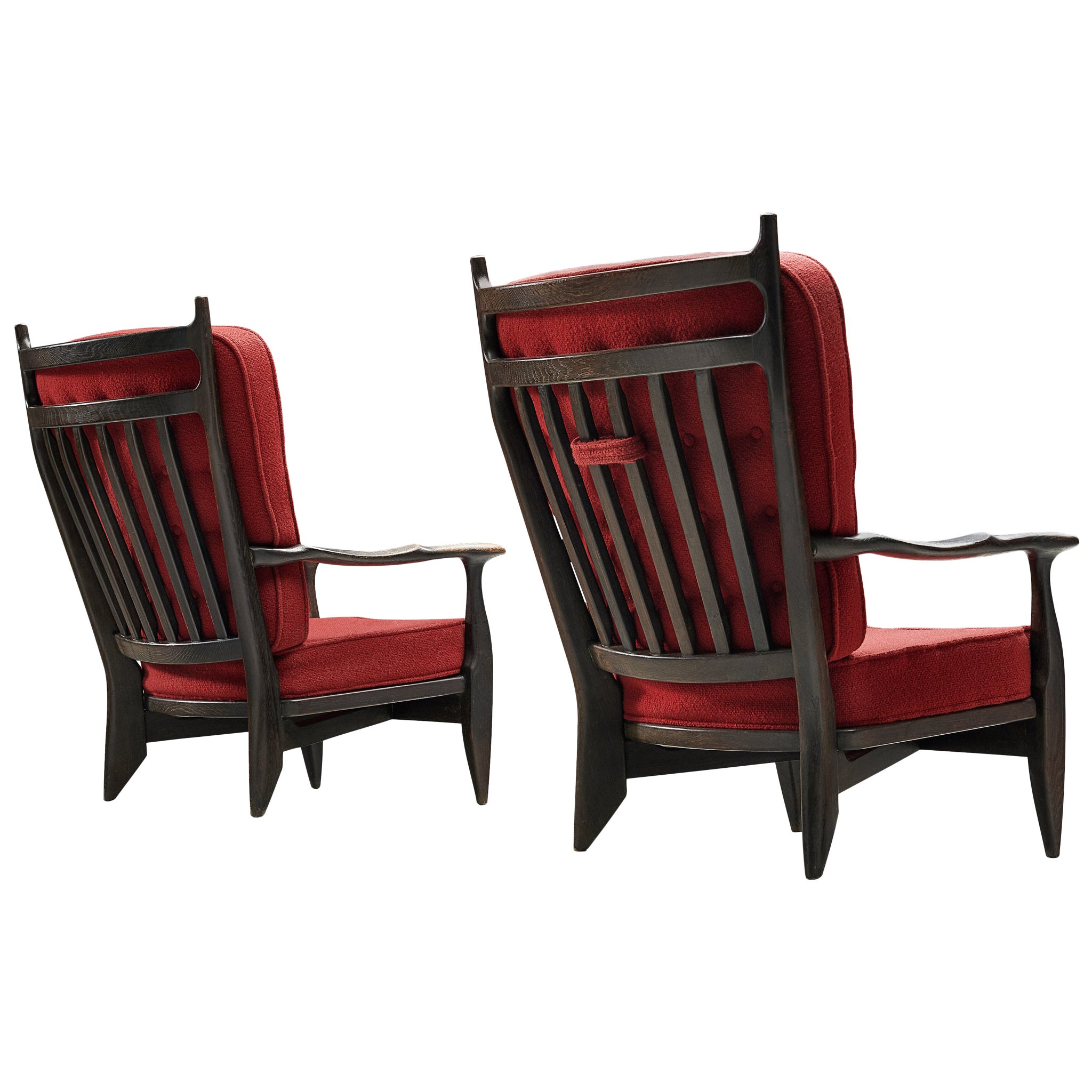 Guillerme et Chambron Lounge Chairs in Oak with Red Upholstery