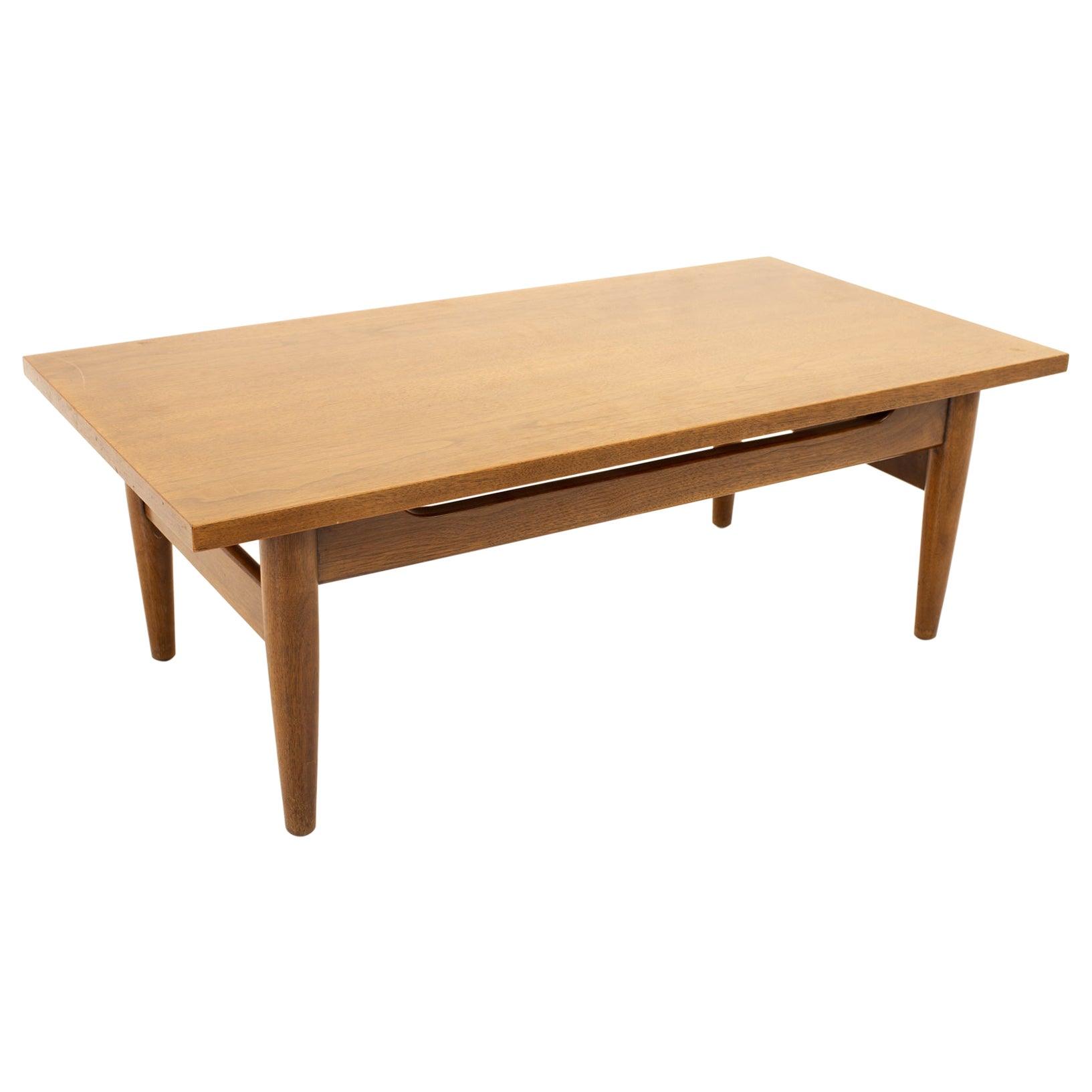 Jens Risom Style Midcentury Walnut Coffee Table