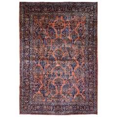 Coral Antique Persian Mohajeran Sarouk Full Pile Perfect Soft Rug