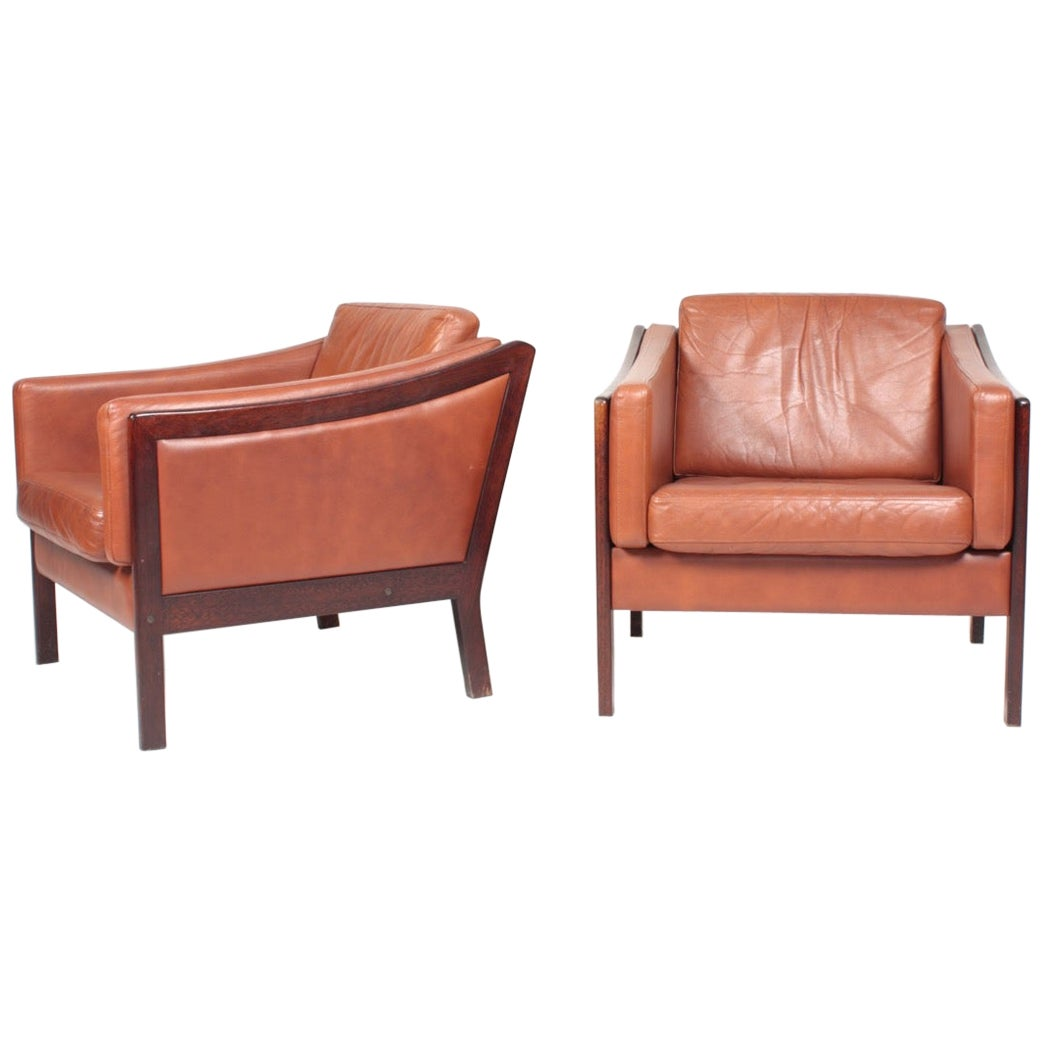 Pair of Danish Midcentury Lounge Chairs in Patinated Leather, 1960s