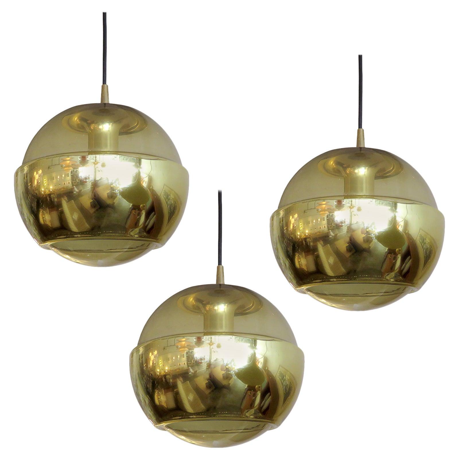 Set of Three Smoked Glass Hanging Lights, 1970