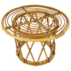 Spanish 1950s Franco Albini Style Bamboo and Rattan Round Side or Coffee Table