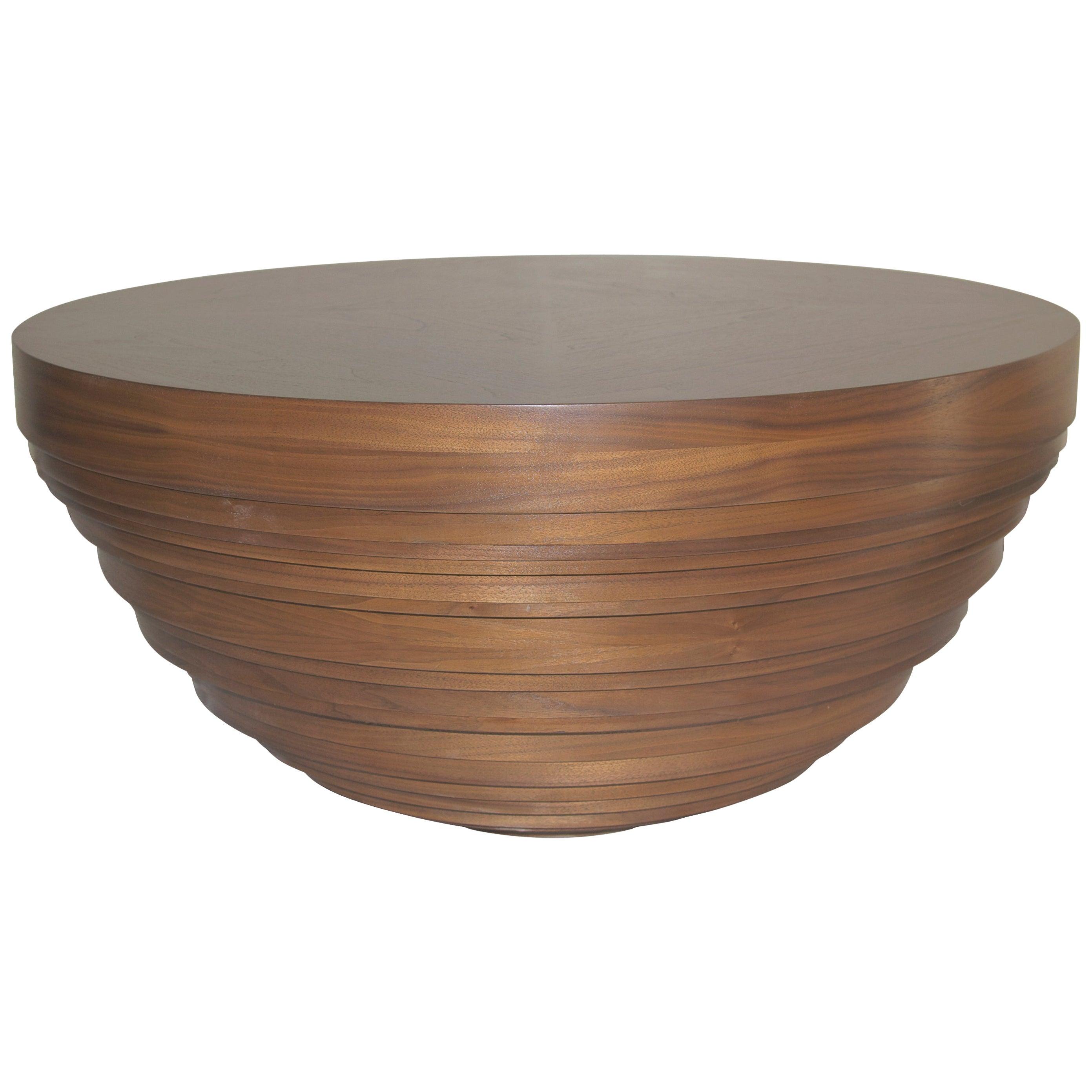 Walnut Drum Coffee Table