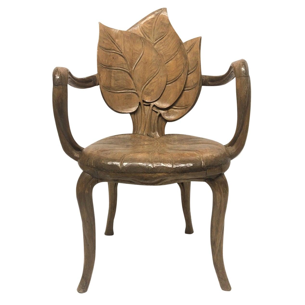 Bartolozzi & Maioli Carved Wooden Leaf Armchair