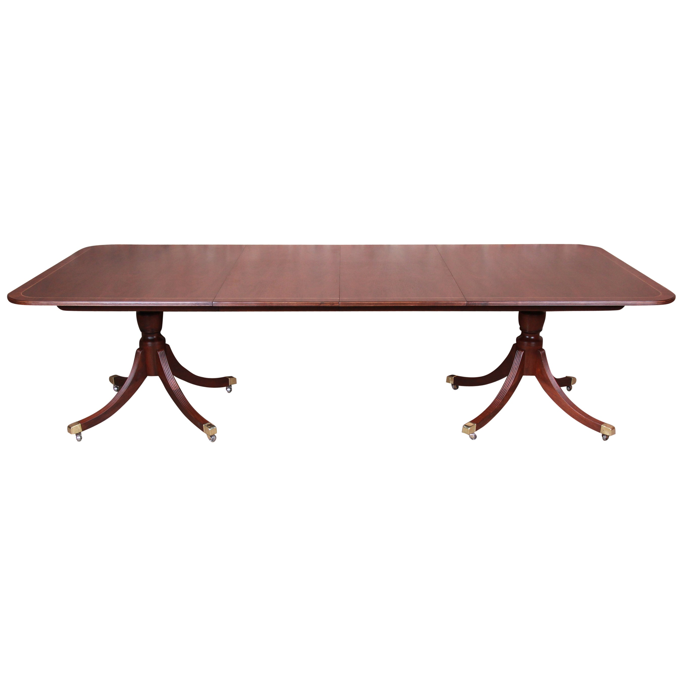 Baker Furniture Banded Mahogany Double Pedestal Dining Table, Newly Refinished
