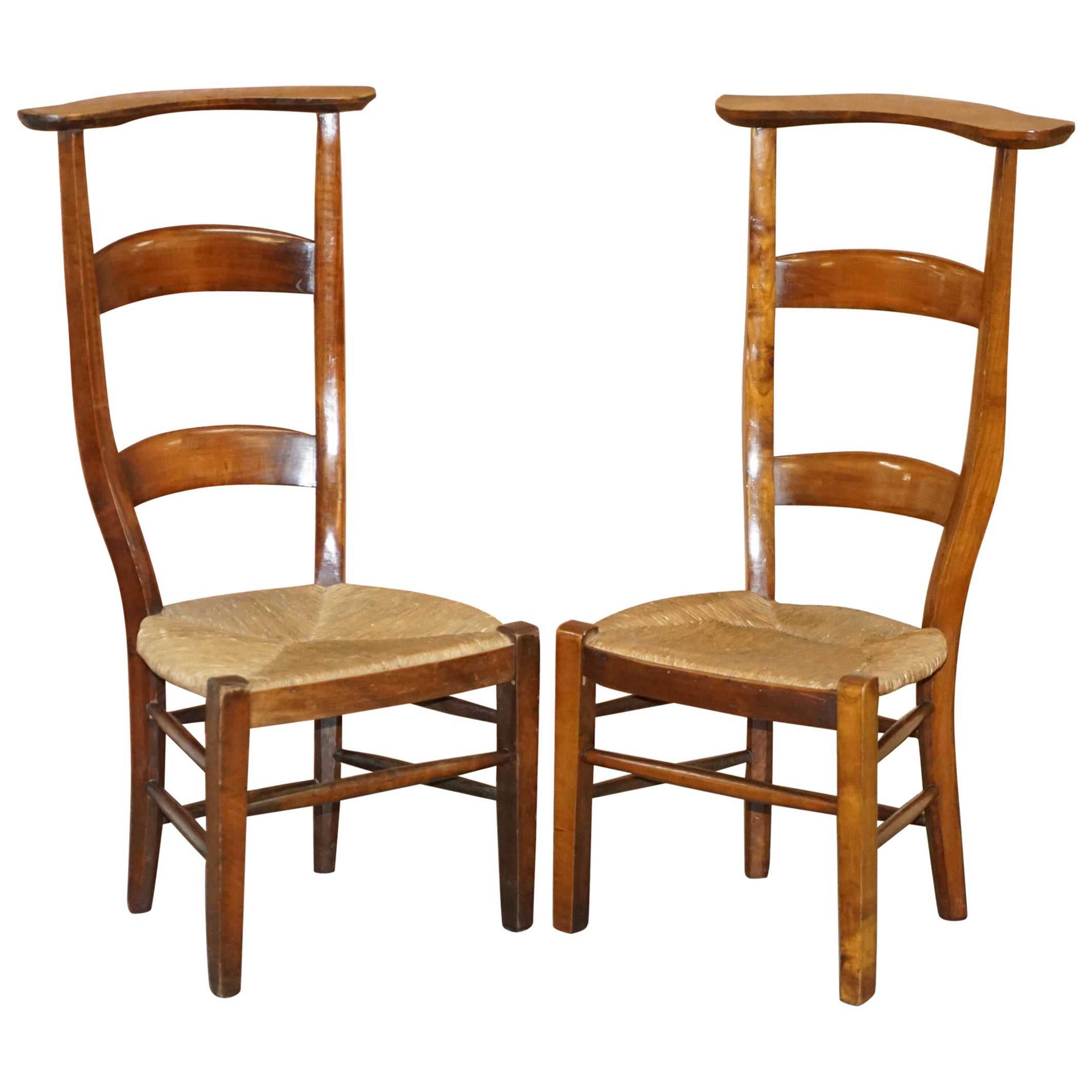Pair of circa 1840 Hand Carved Prie Dieu High Back Prayer Chairs Original Bases