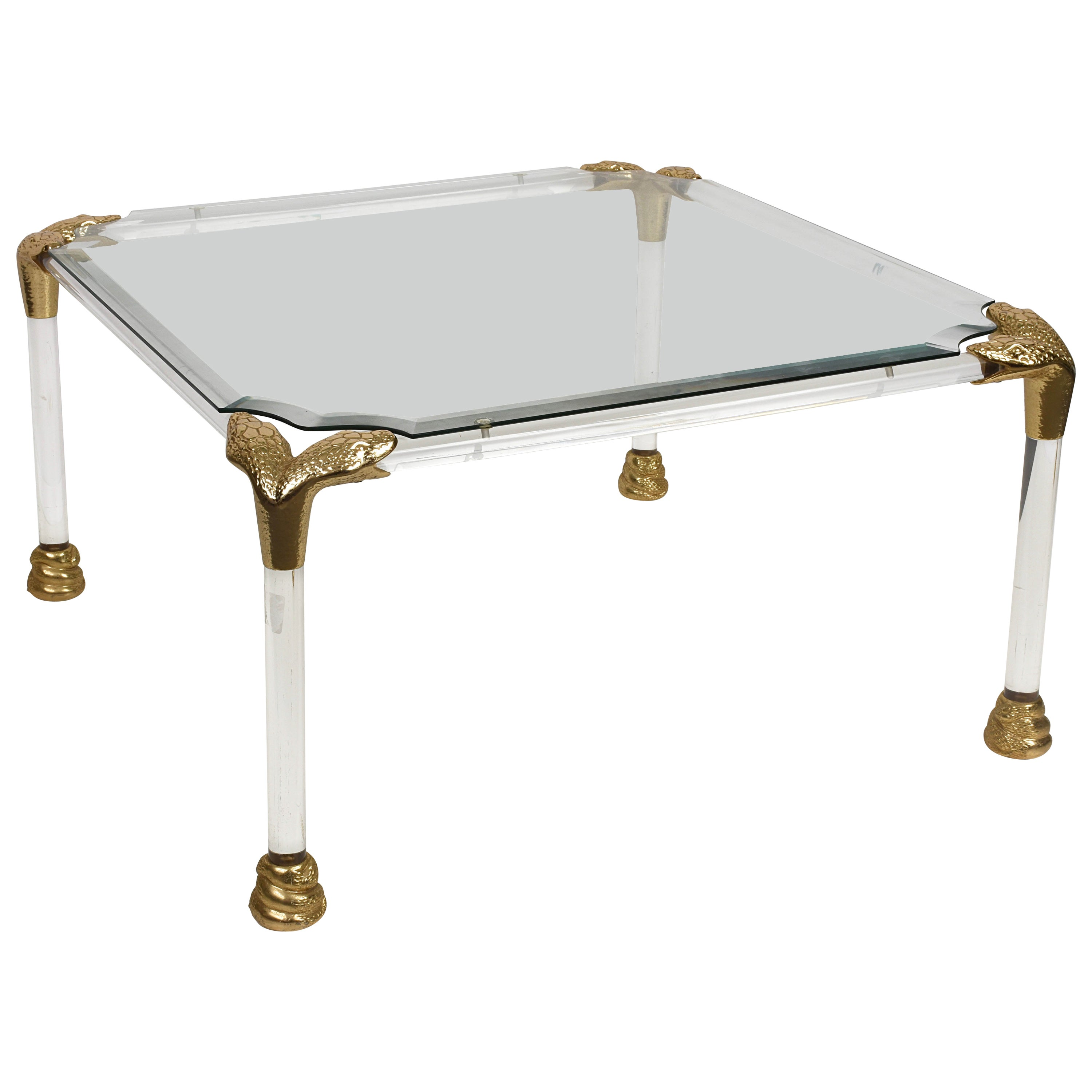 Midcentury Lucite and Brass Italian Coffee Table with Snake Head Details, 1970s