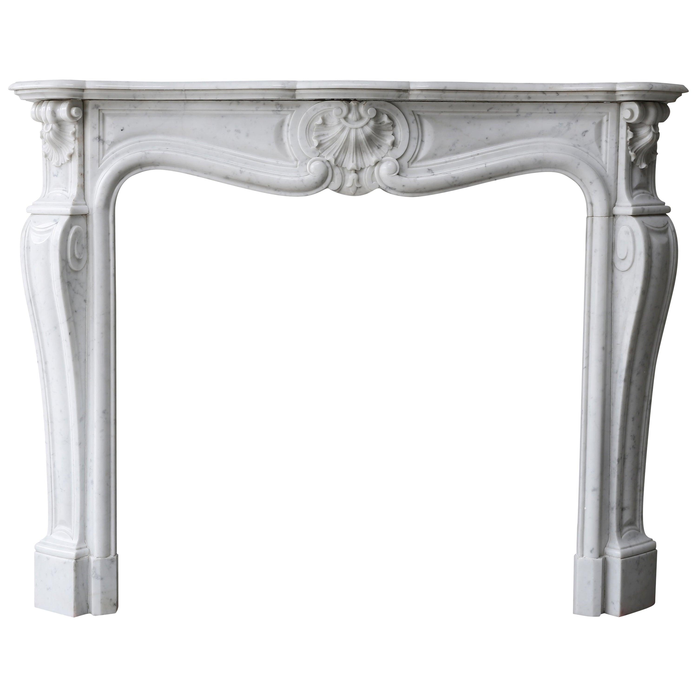 19th Century Antique Mantel of Carrara Marble Mantel, Louis XV