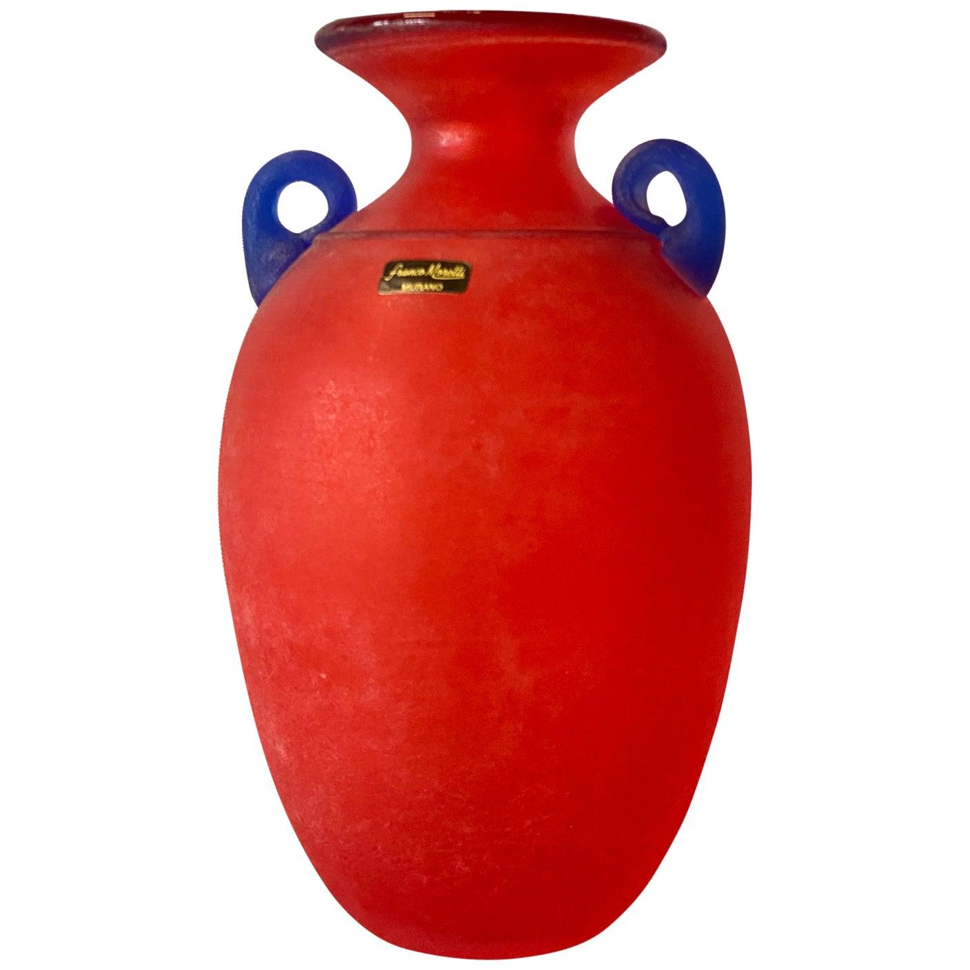 Murano Glass Vase by Franco Moretti, Italy, 1980s