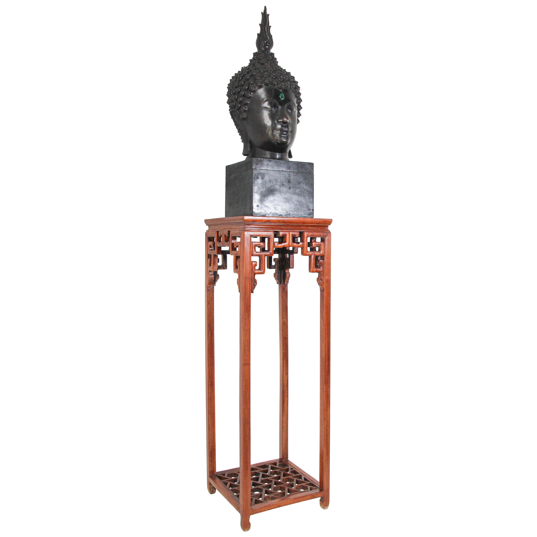 Impressive Bronze Head of Buddha on Pedestal