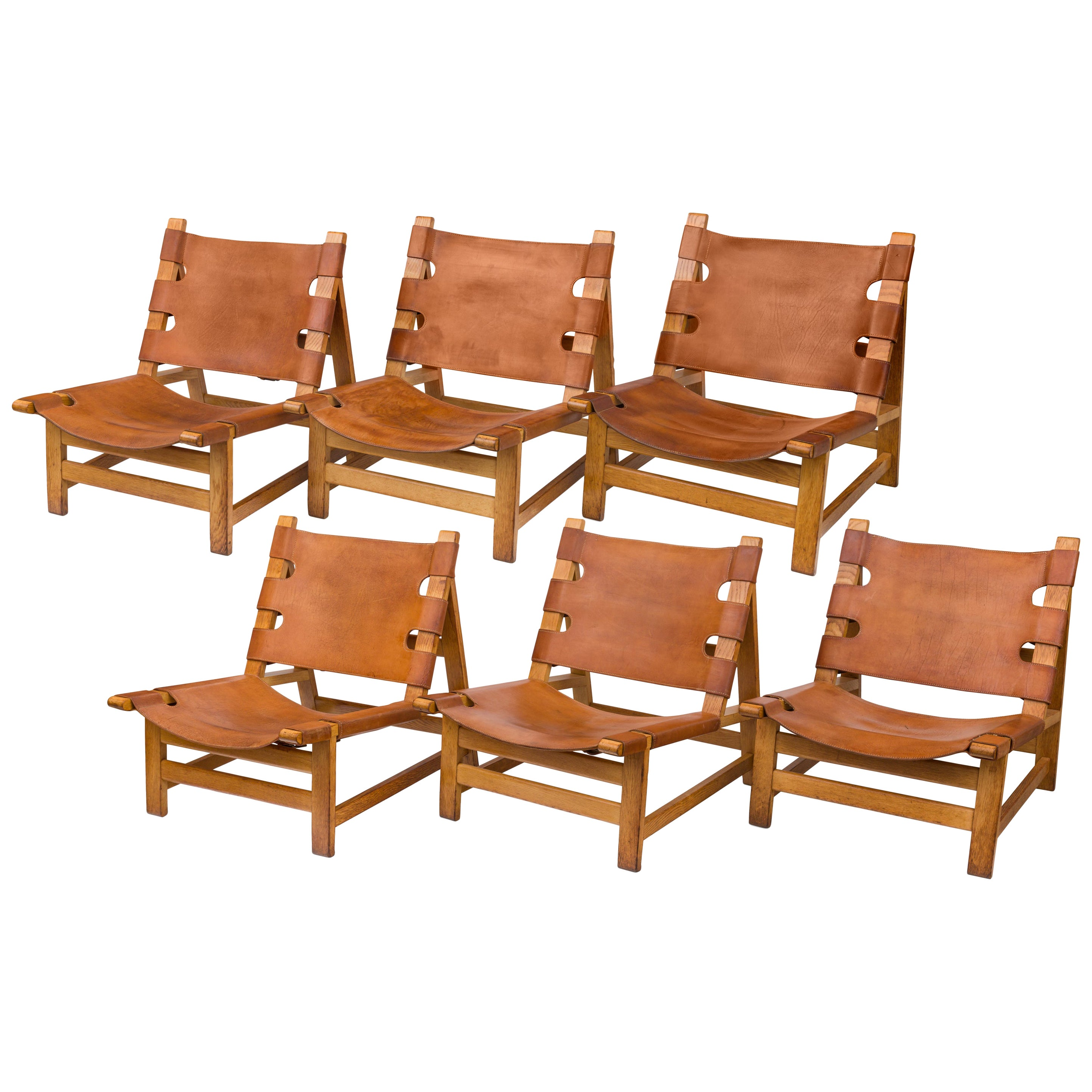 Børge Mogensen Oak and Leather Lounge Chairs, Denmark, 1960s