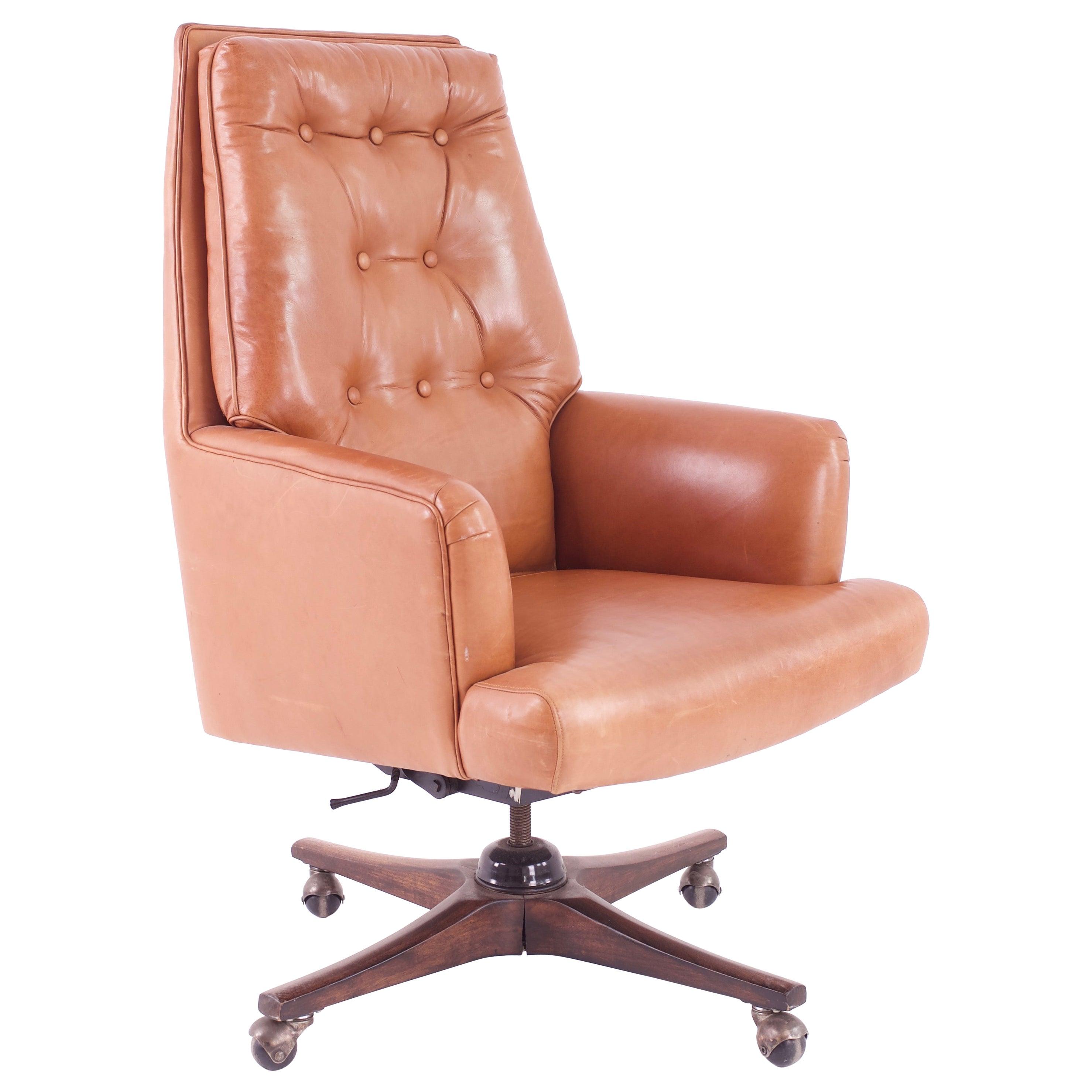 Edward Wormley for Dunbar Style Mid Century Leather Orange Desk Chair
