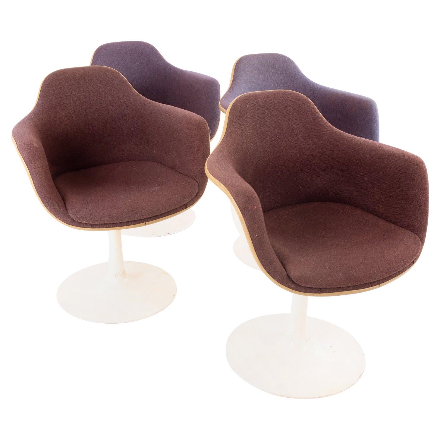 Eero Saarinen Style for Knoll Style MCM Tulip Dining Room Armchairs, Set of 4