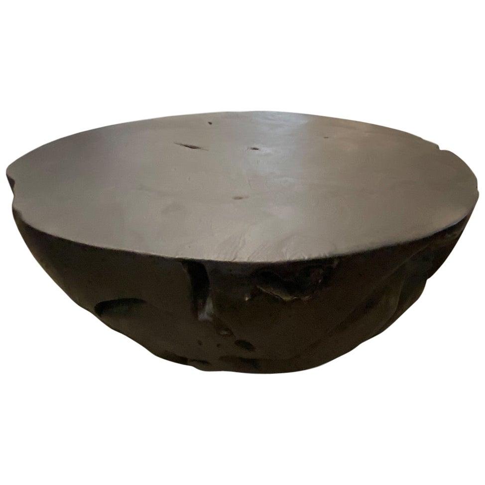 Andrianna Shamaris Charred Drum Shape Teak Wood Coffee Table