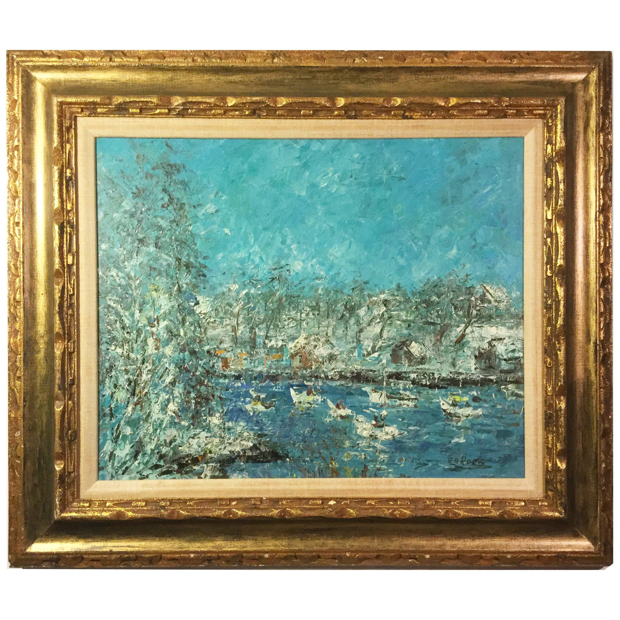 EGROEG Oil on Canvas Lake or Harbor Impressionist Midcentury Painting