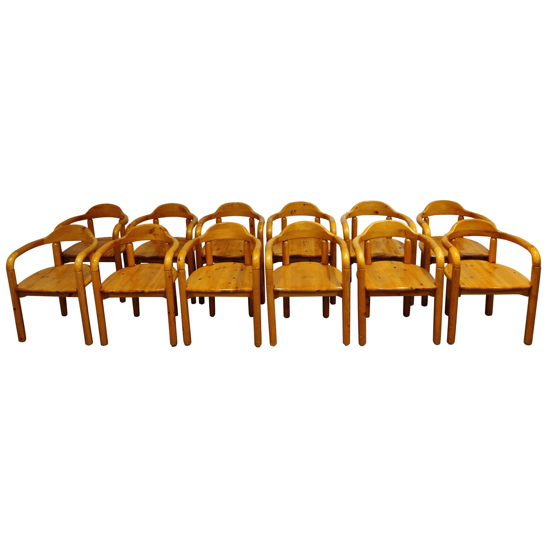 Rainer Daumiller Pine Wood Dining Chairs for Hirtshals Savvaerk Set of 12, 1980s