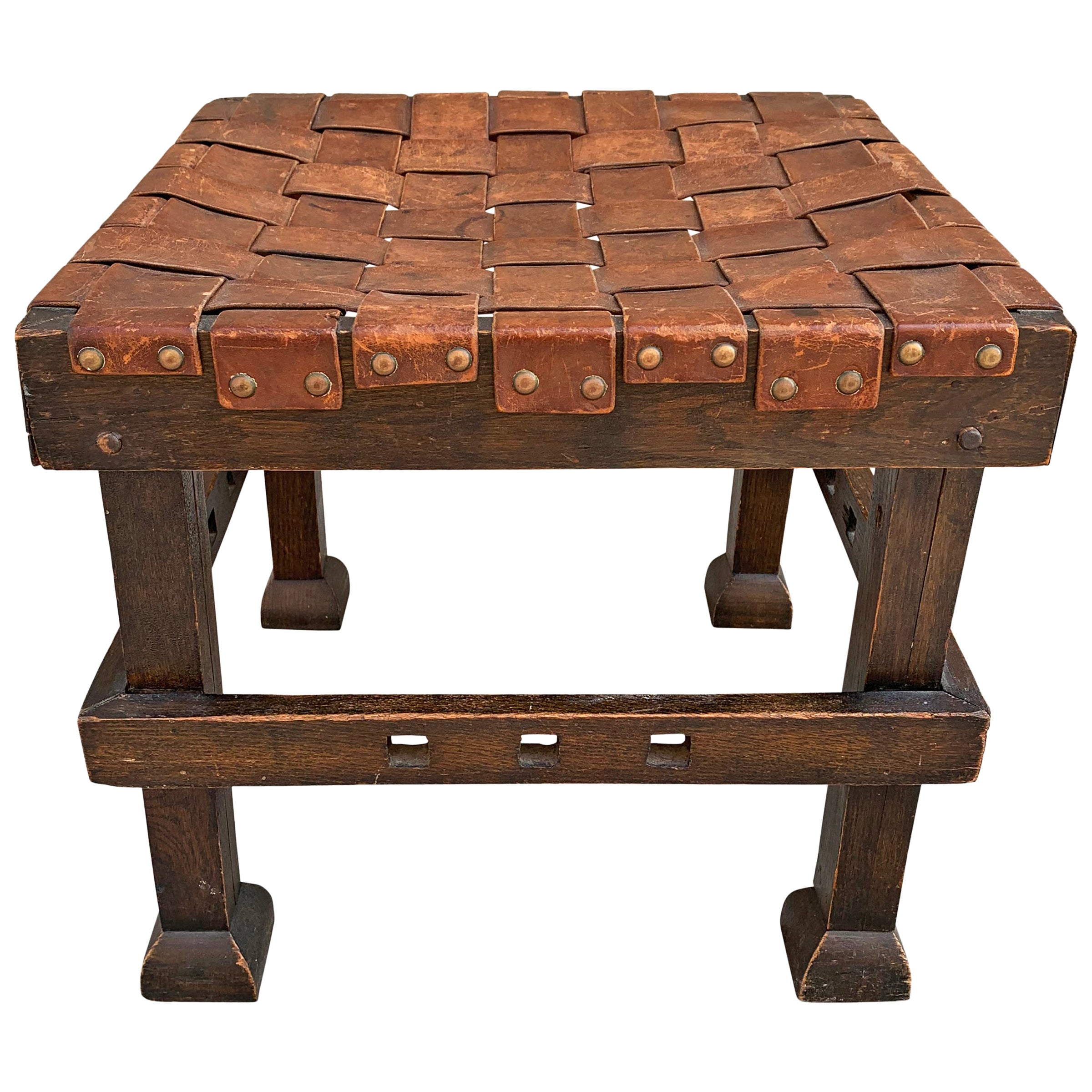 Wonderful Early 20th Century English Arts & Crafts Leather Top Stool