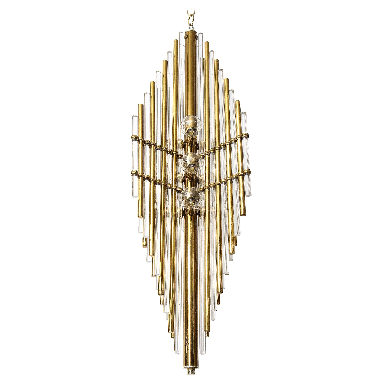 Sciolari Italian Brass, Lucite Pendant Chandelier