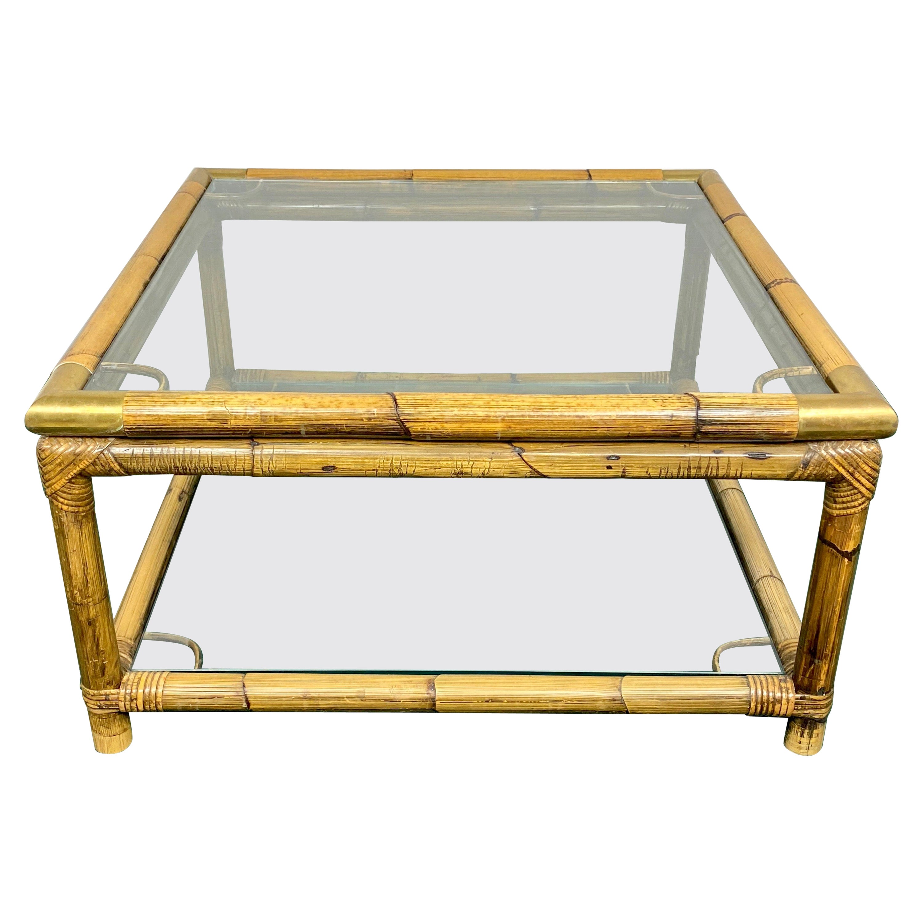 Squared Coffee Side Table in Bamboo, Glass and Brass, Italy, 1970s.
