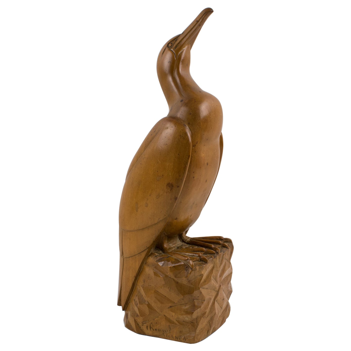 French Art Deco Seagull Wooden Sculpture by G. Rouxel