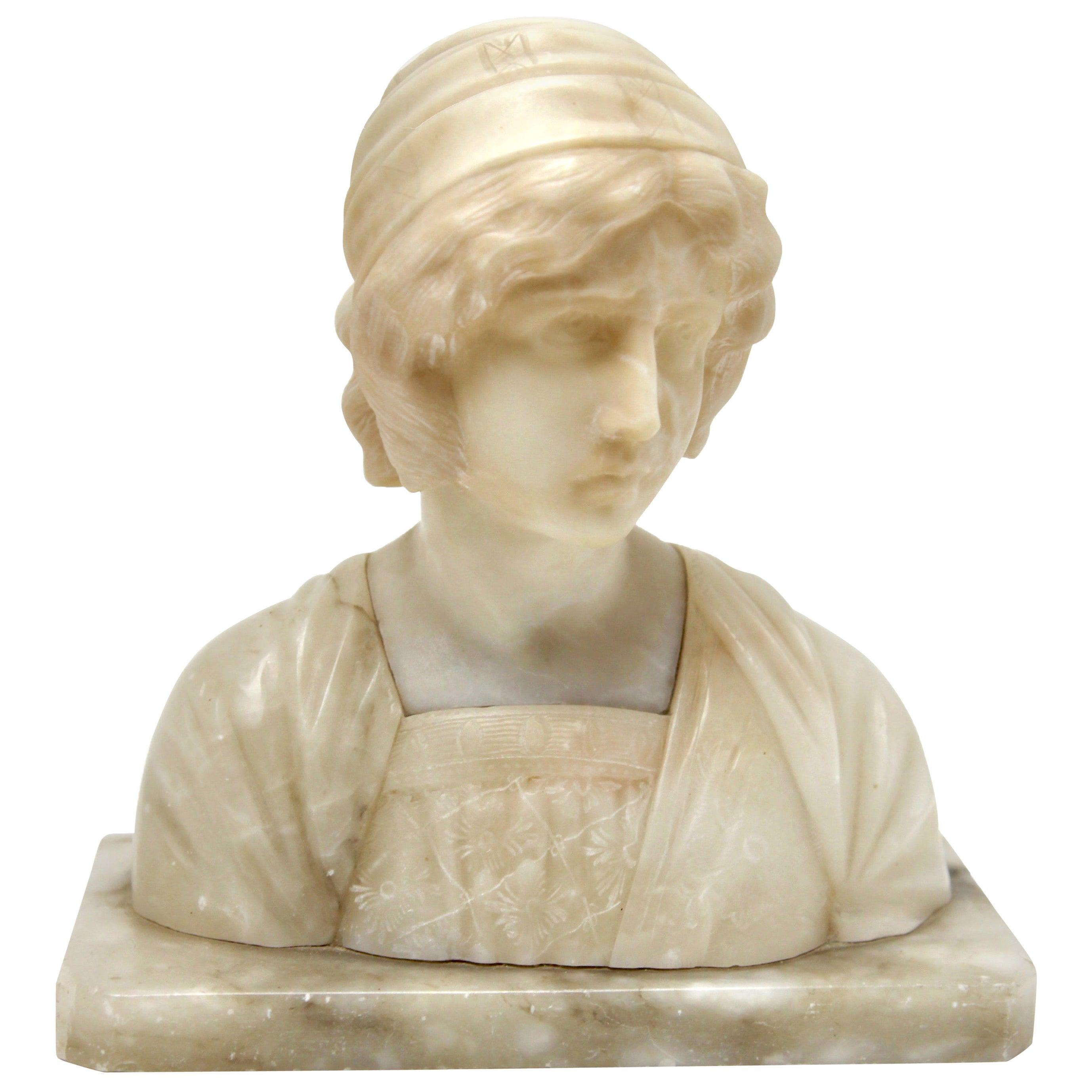 Art Nouveau Bust of a Young Woman Alabaster, Italy, circa 1930