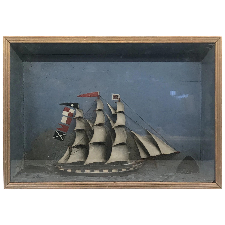 Folk Art Shadowbox Ship Diorama of a Three Masted Schooner