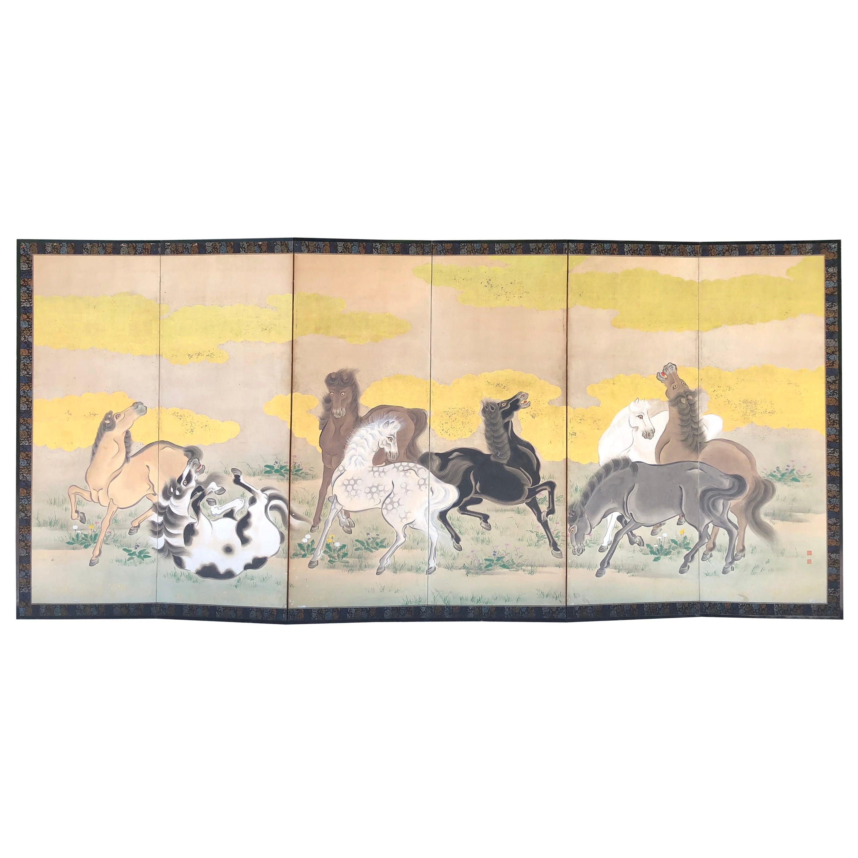 Japanese Fine Antique Screen Eight Horses