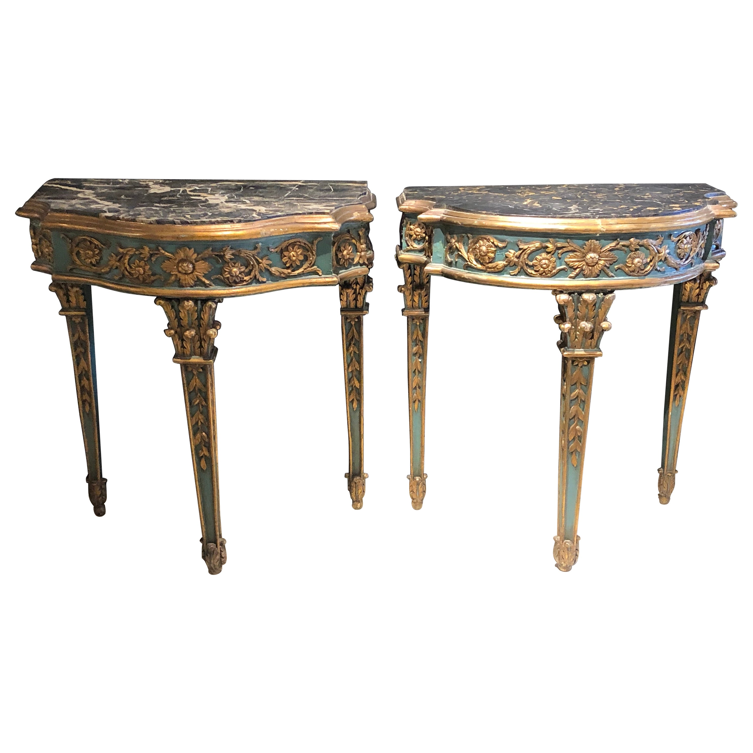 Pair of 19th Century French Console/Sofa Tables Parcel-Gilt & Painted Marble Top