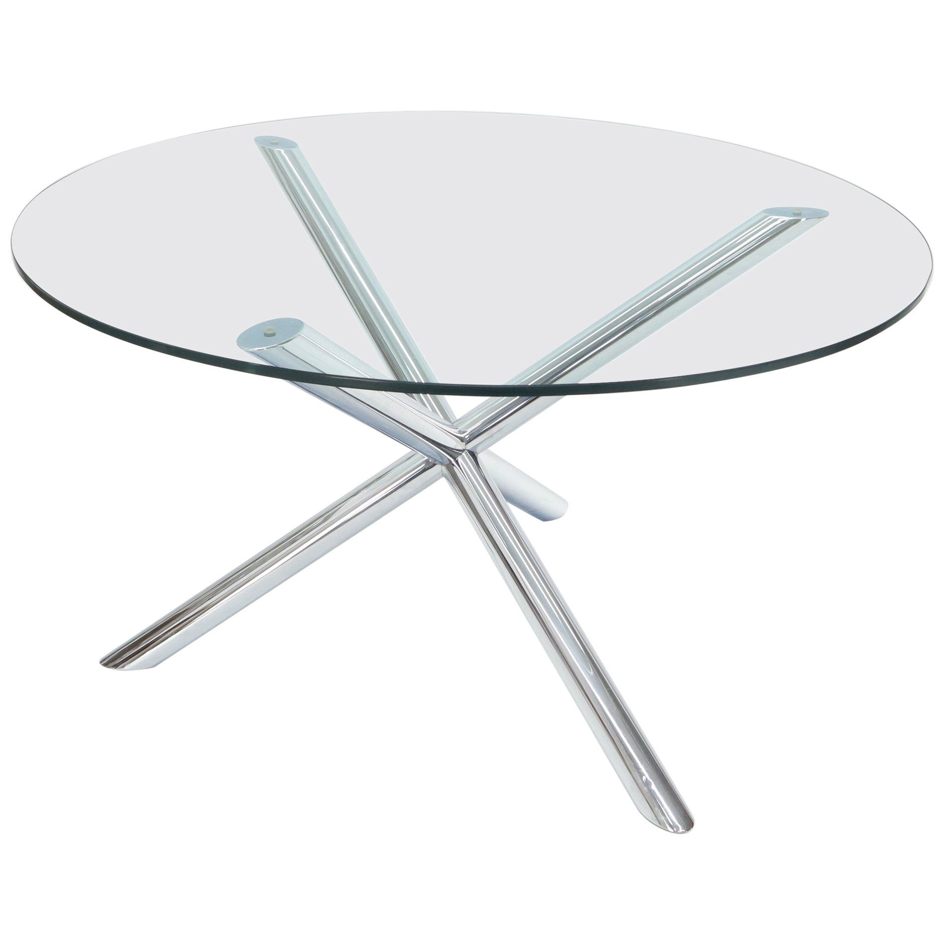 Jack Shape Large Round Glass Top Dining Table