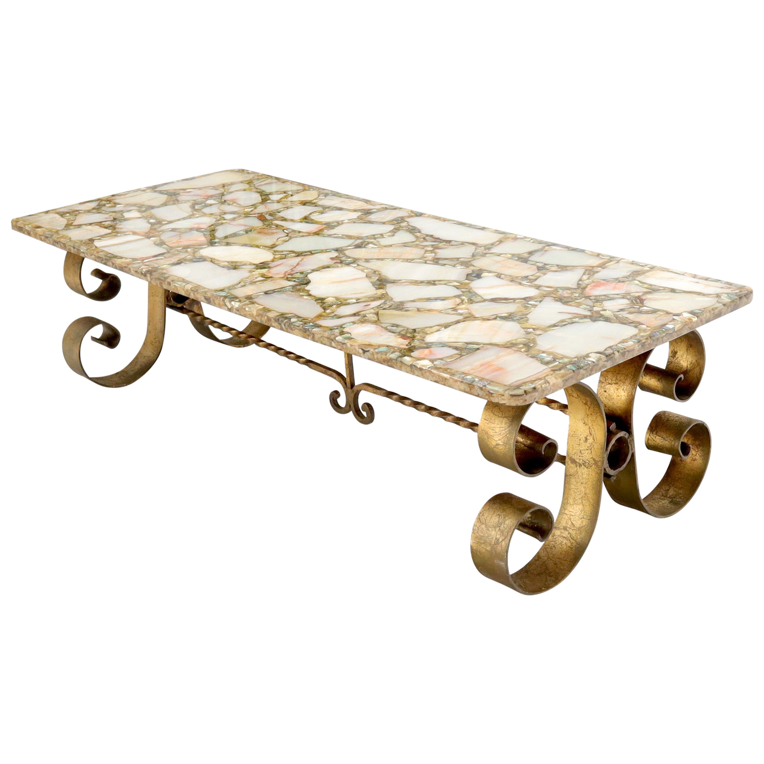 Hollywood Regency Mid-Century Modern Abalone and Onyx Molded-Top Coffee Table