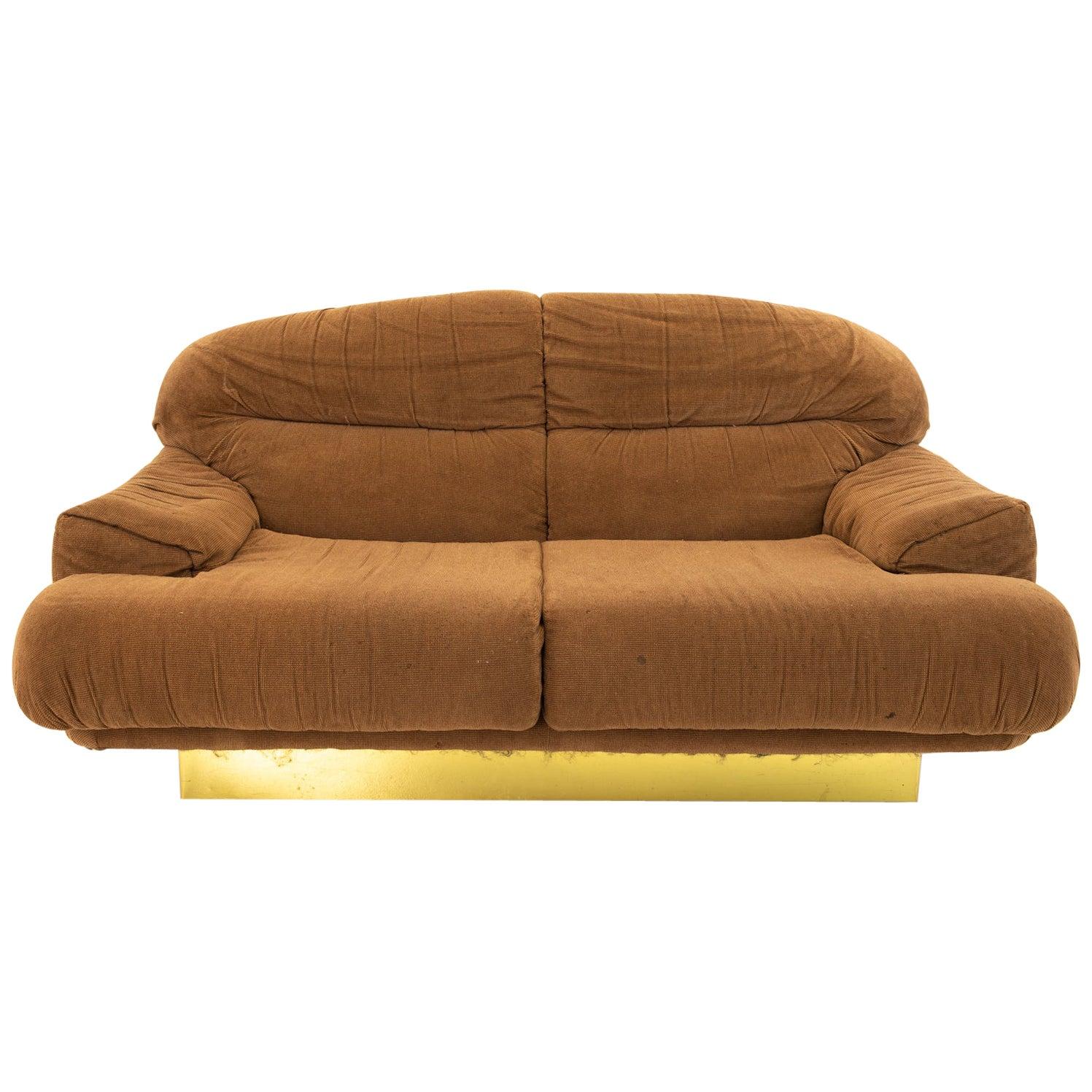Milo Baughman Style Mid Century Brass Base Loveseat