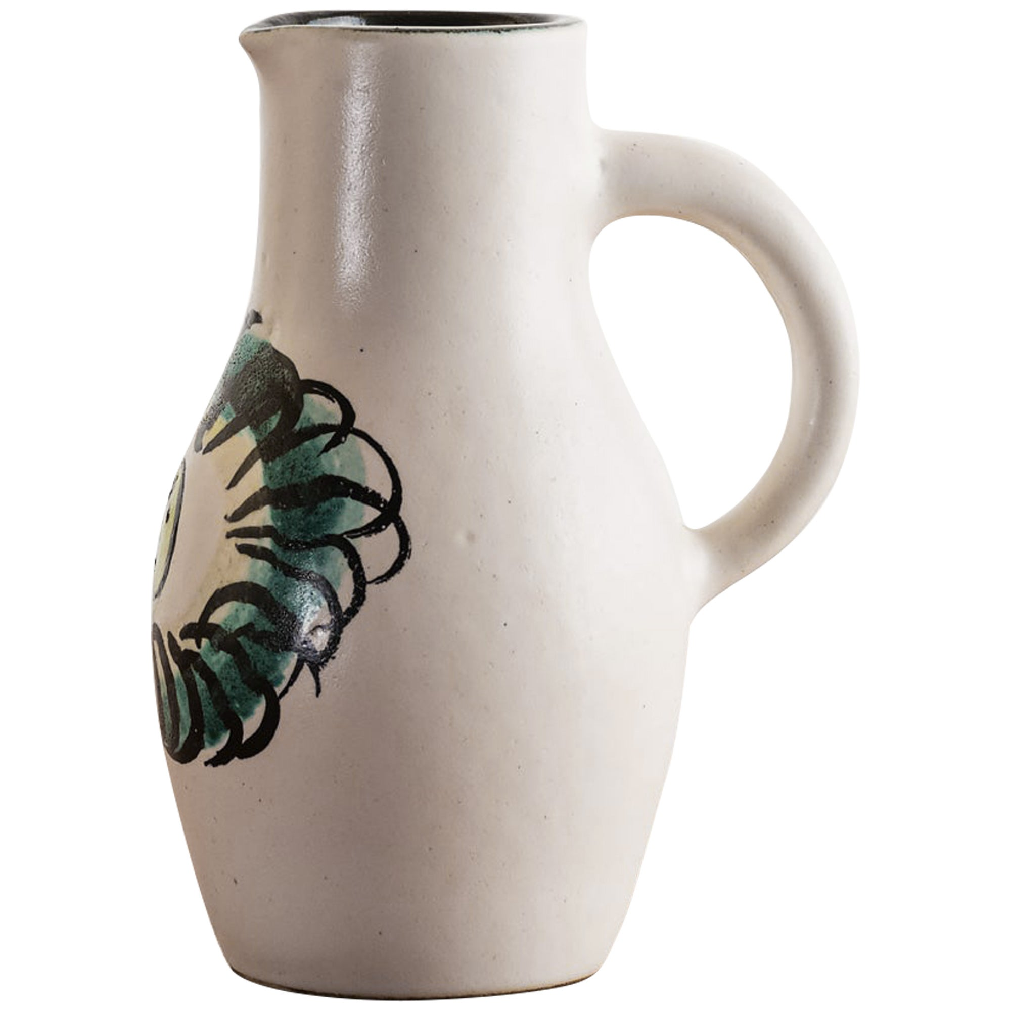Georges Jouve Pitcher in Cream with Black Interior, 1950s
