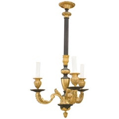 Turn of the Century French Black and Gilt Bronzed Chandelier