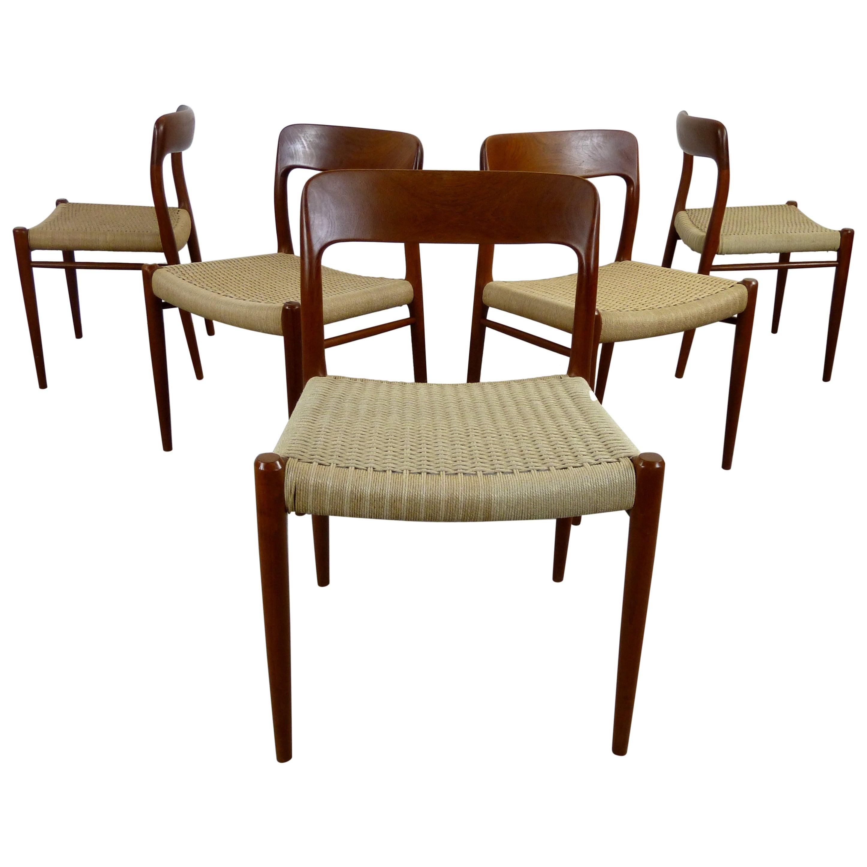 Set of 5 Niels O. Moeller Teak Chair Model 75