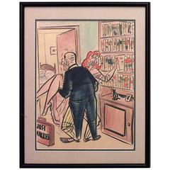 Mid-Century American Framed Satiric Watercolor Attributed to Peter Arno