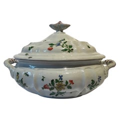 Italy Late 18th Century Richard Ginori Porcelain Soup Bowl with Floral Decor