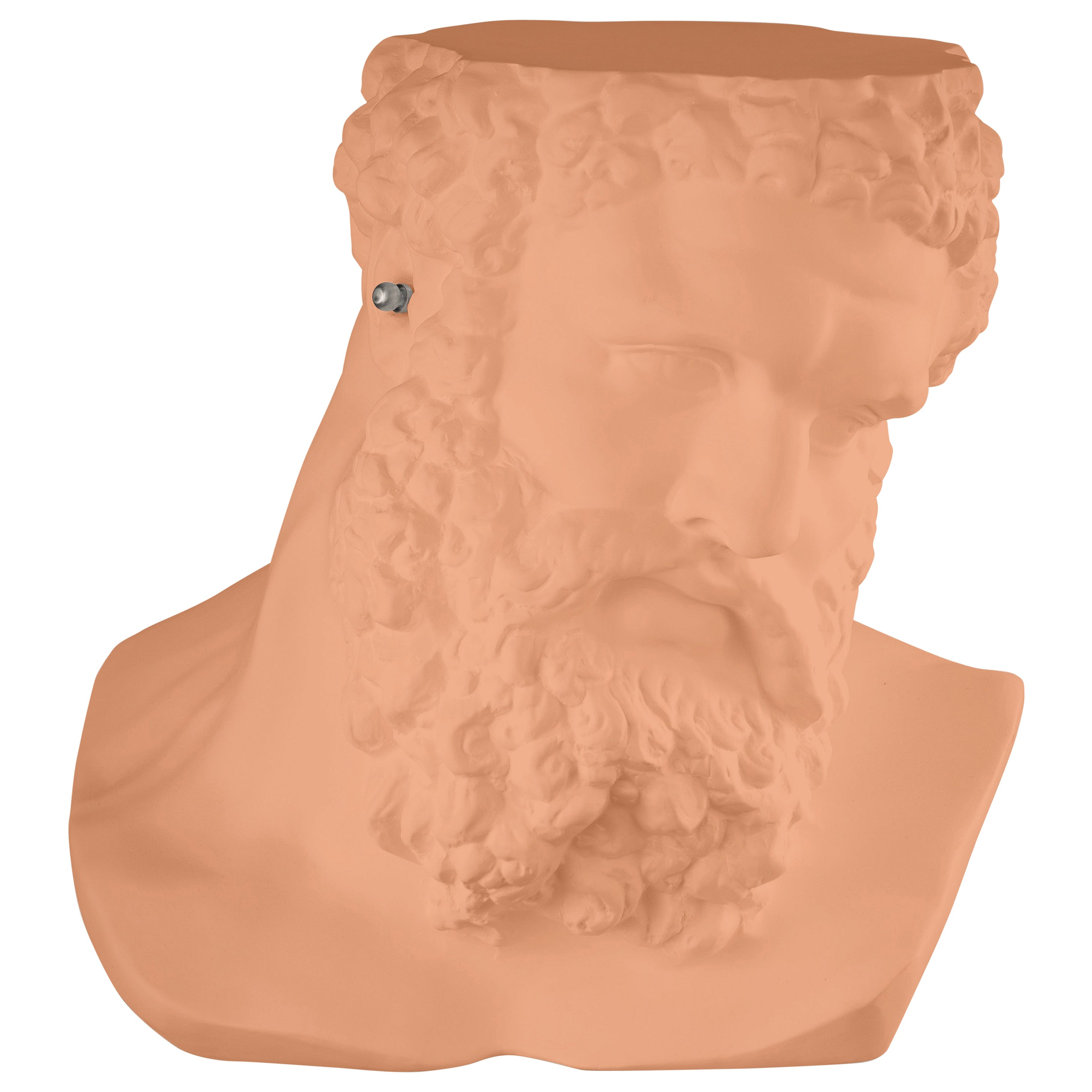 """Bust Ercole""""Don't Hear"""", Small Table/Sculpture, Ceramic, Cantaloupe Color, Italy"""