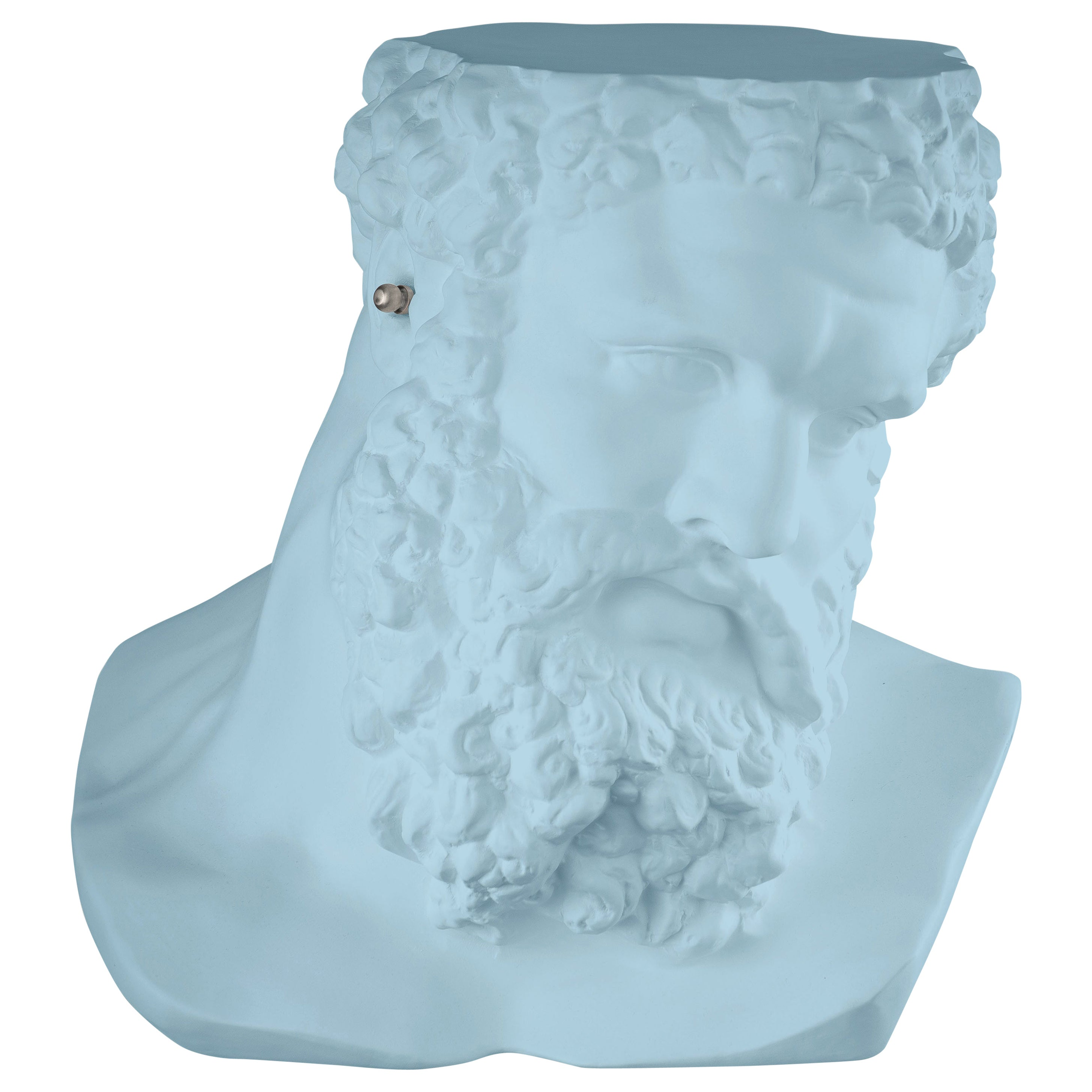 """Bust Ercole""""Don't Hear"""", Small Table/Sculpture, Ceramic, Purist Blue Color Italy"""