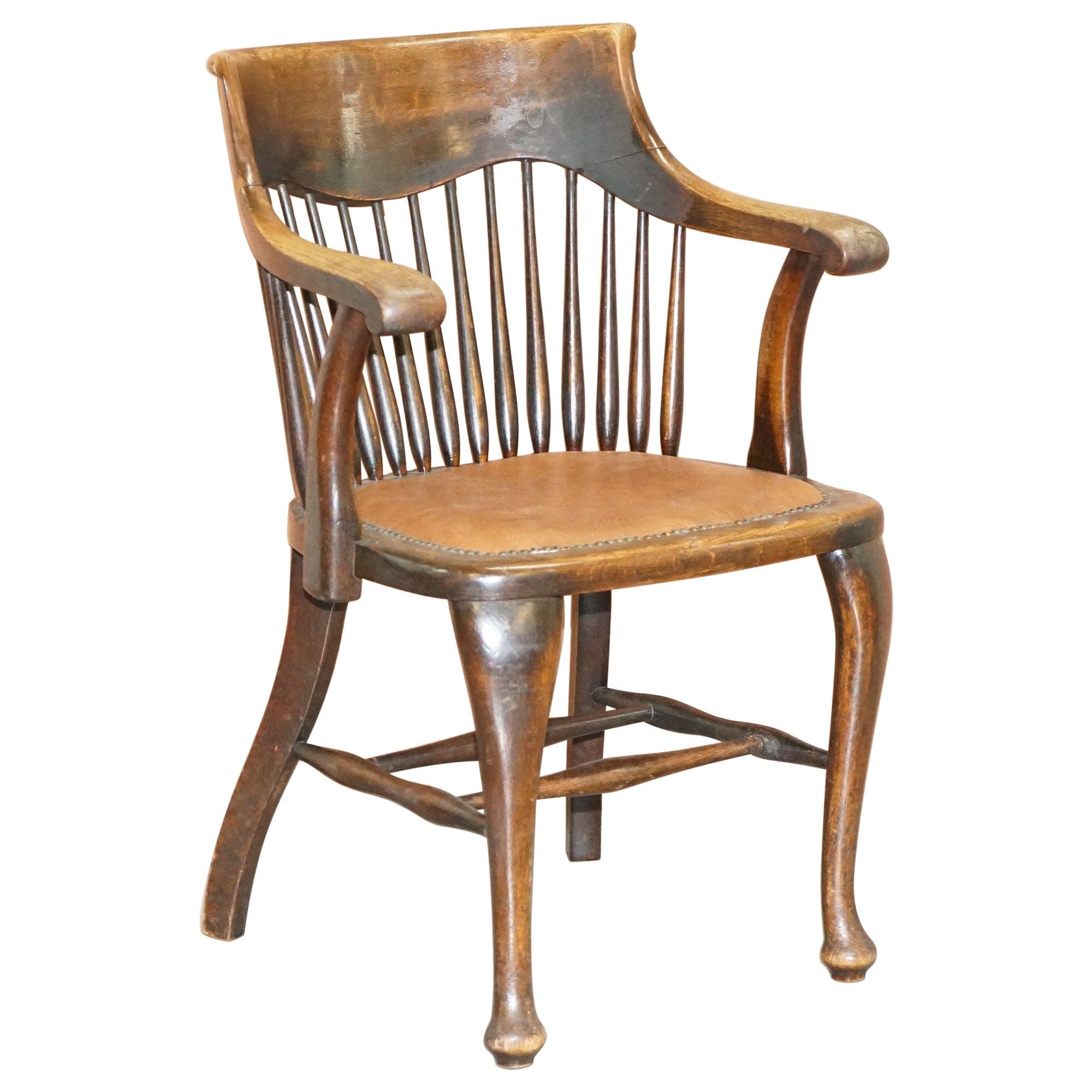 English Edwardian Ralph Johnson Oak Spindle Back Captains Office Desk Armchair