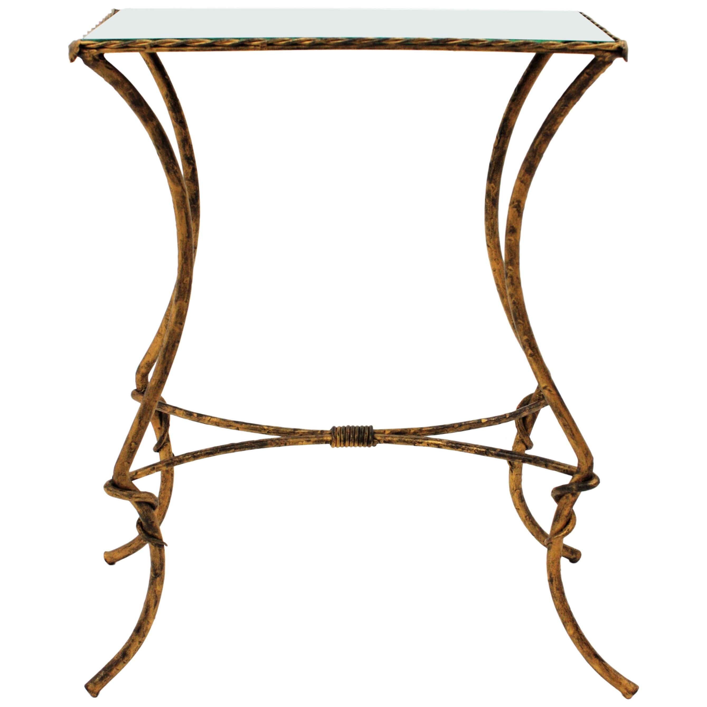 Maison Baguès Style Gilt Wrought Iron Drinks Table with Mirror Top, 1940s