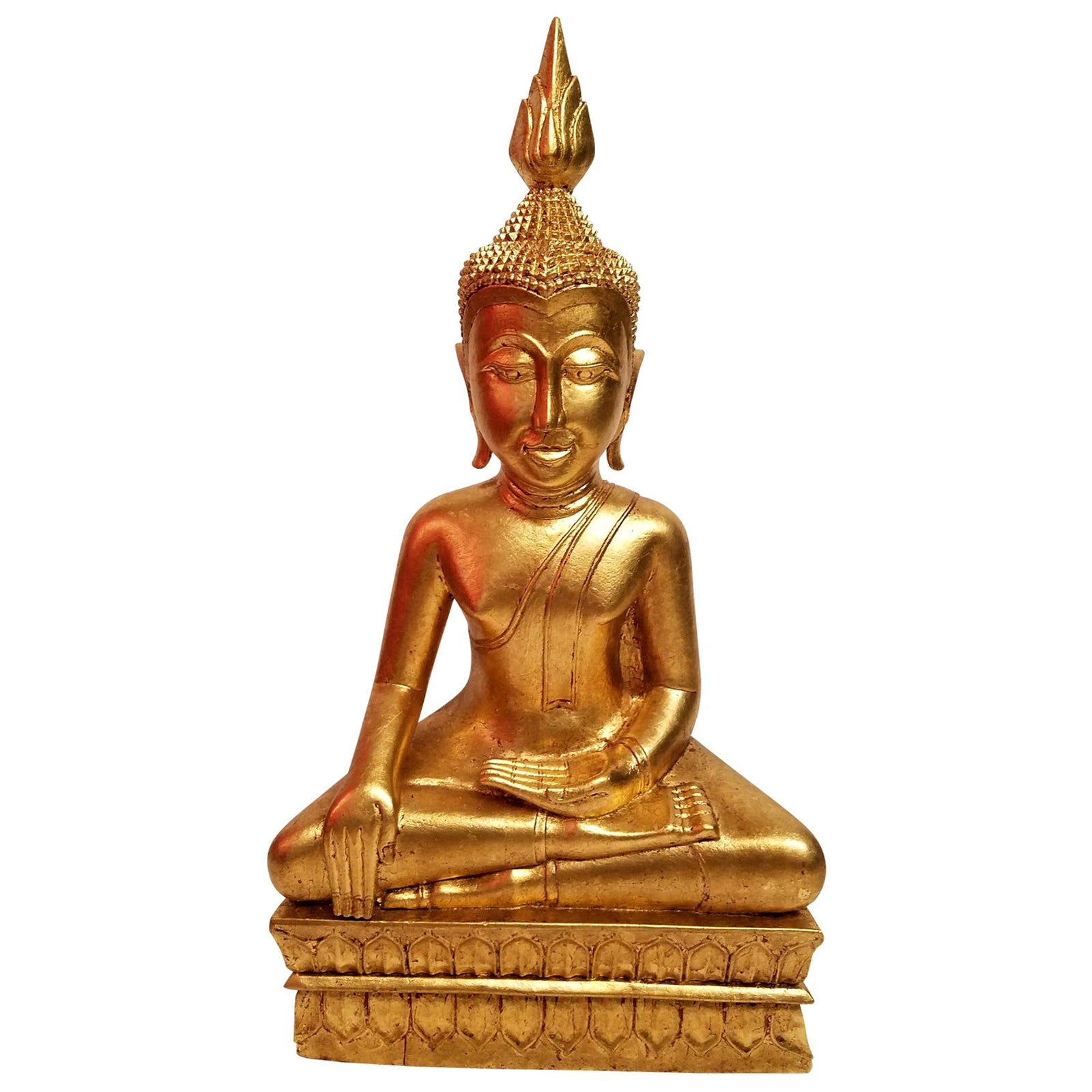 Hand Carved Giltwood Thai Buddha
