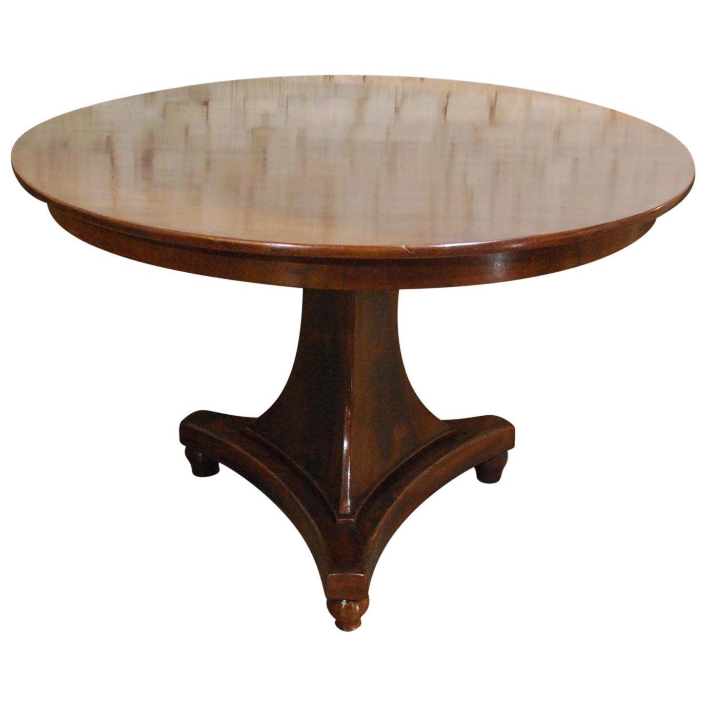 Antique 19th Century Empire Dutch Mahogany Round Dining Table