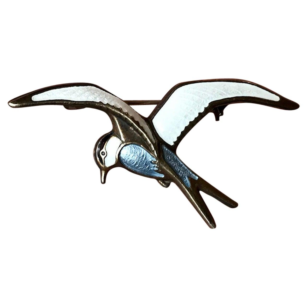 Vintage David Andersen Bird Brooch in Enamel Guilloche and Sterling Silver