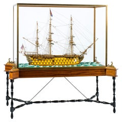 Master Built HMS Victory Scale Model Ship in Display Cabinet on Stand
