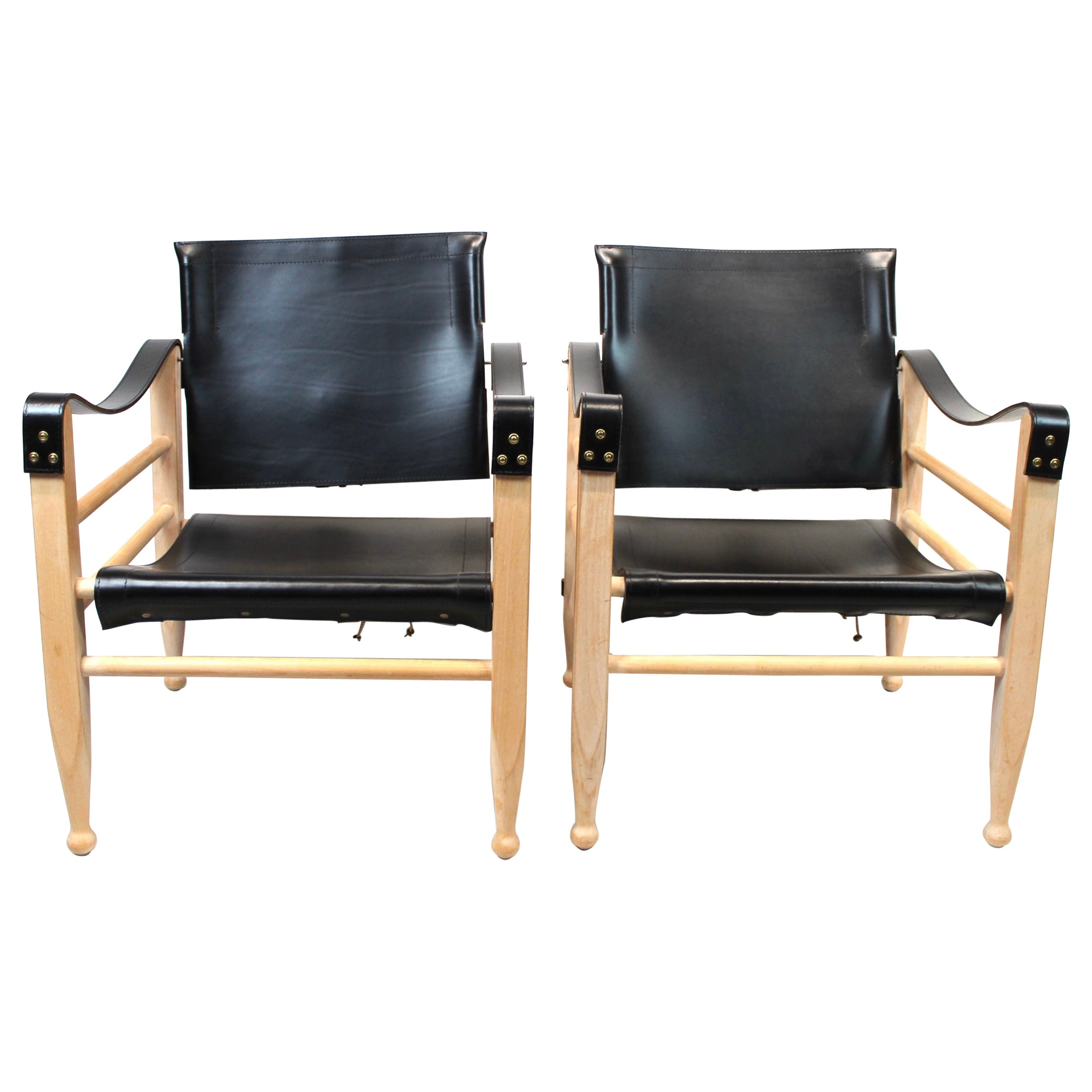 Pair of Safari Chairs by Aage Bruun & Son of Black Leather, 1960s