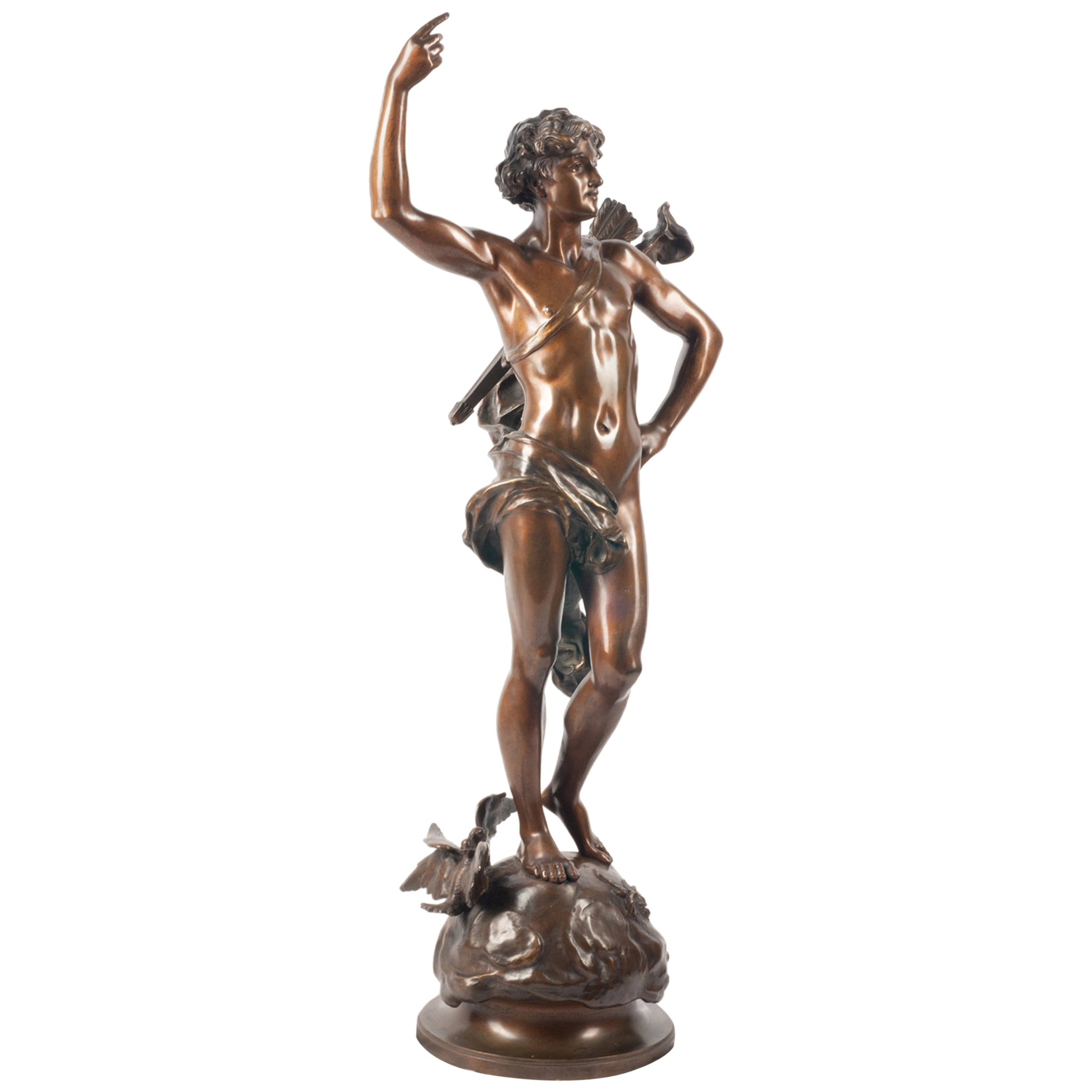 19th Century classical Bronze statue of an archer, by A. Gaudez