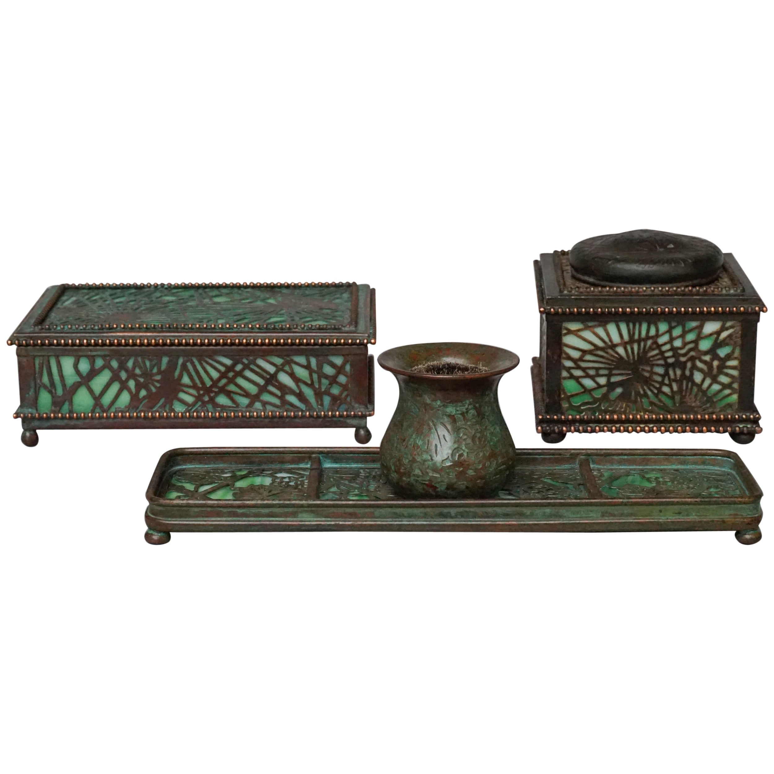 1905-1920 Green Slag Glass and Bronze Desk Set by Tiffany Studios New York