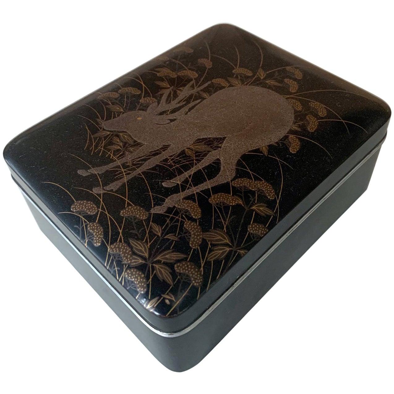 Japanese Rinpa Style Lacquer Box Meiji Period