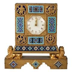 Bronze and Champleve Enamel Table Clock, E.F. Caldwell, Circa 1900