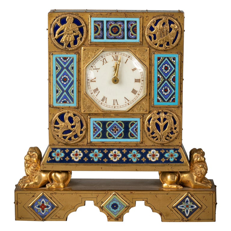 Bronze and Champleve Enamel Table Clock, E.F. Caldwell, Circa 1900 For Sale